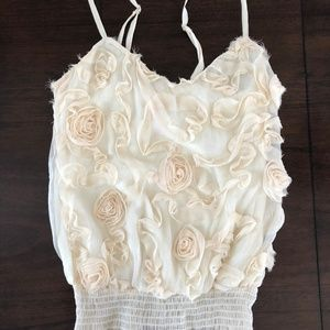 HeartSoul Ivory Rose Adjustable Frill Top   Size S
